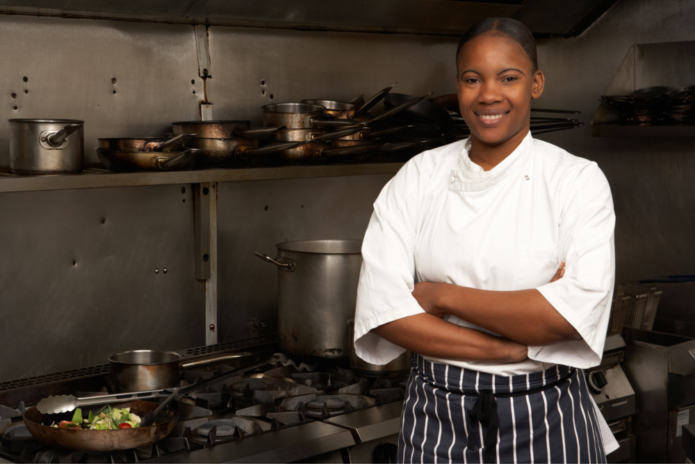 chef standing at the kitchen